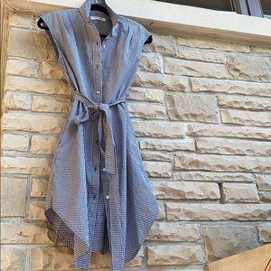 FRAME Sleeveless shirtdress with self-tie belt